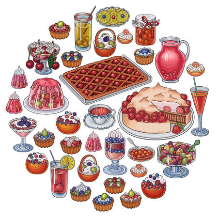 Sweets, berries, fruits, drinks illustration