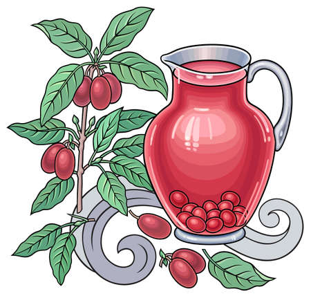Berries, fruits, drinks hand drawn illustration Vectores