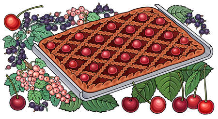 Pie, berries, fruits hand drawn illustration