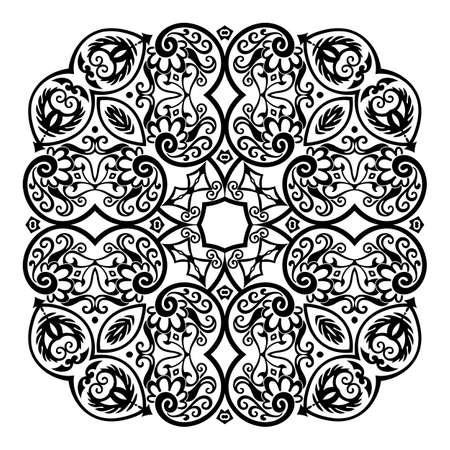 Vector black floral ethnic ornamental illustration