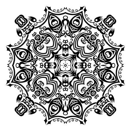 Vector black floral ethnic ornamental illustration Vecteurs