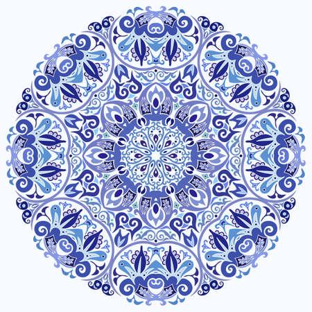 Vector blue decorative floral ethnic illustration