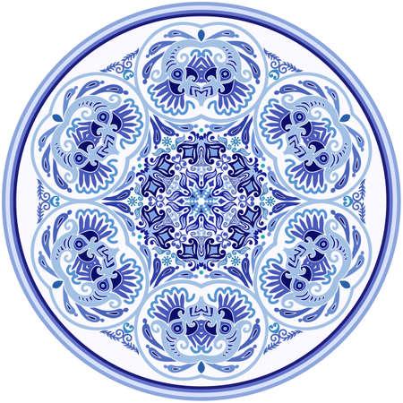 Vector blue decorative floral ethnic illustration Vektoros illusztráció