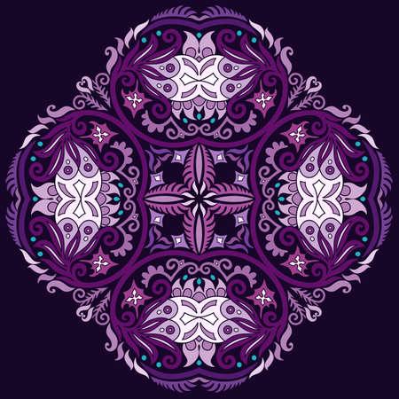 Vector ethnic abstract flower illustration