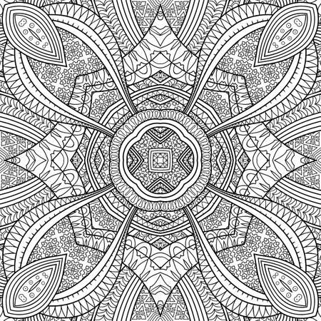 Vector ethnic hand drawn line art seamless pattern Vektoros illusztráció