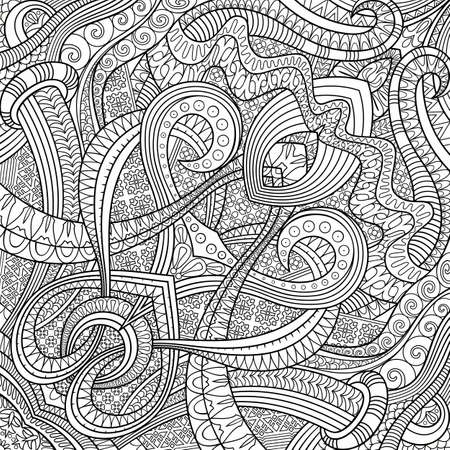 Vector ethnic hand drawn line art background