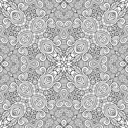 Vector ethnic hand drawn line art seamless pattern