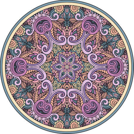Vector abstract floral ethnic hand drawn mandala