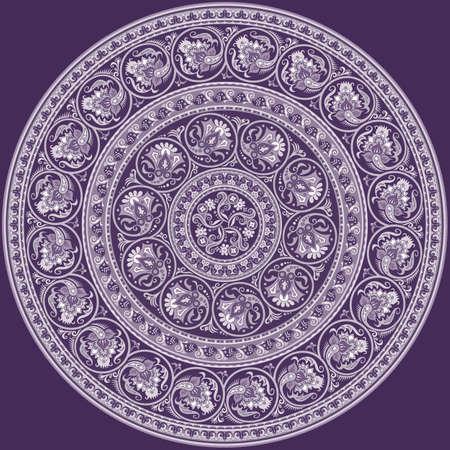 Vector ethnic round ornamental illustration.