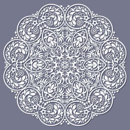 Vector white floral ethnic round illustration.