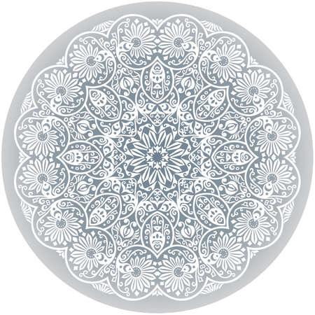 Vector white ethnic round ornamental illustration.