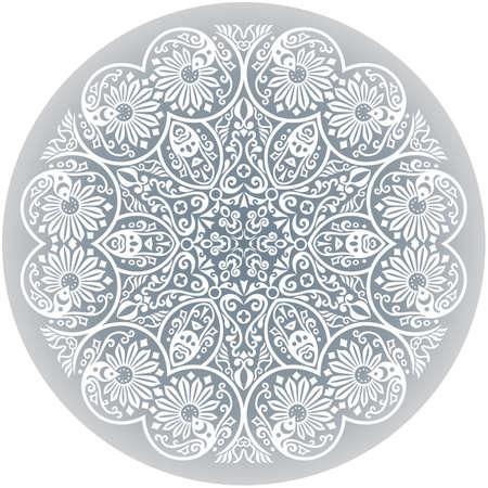 Vector white ethnic round ornamental illustration. Vector Illustratie
