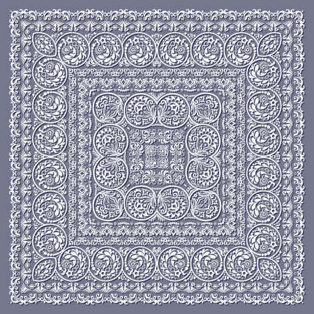 Abstract ethnic nature lace square illustration.