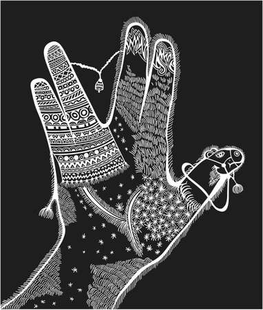 Illustration of hand with stylized camel inside Vettoriali