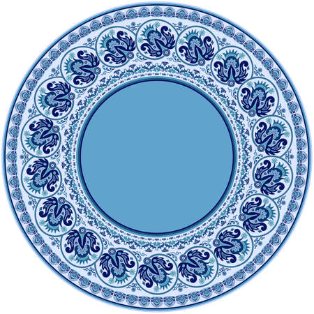 Vector abstract ornamental nature ethnic round frame