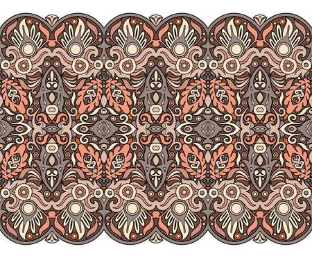 Abstract ethnic nature tile stripe seamless border