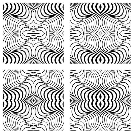 Vector abstract line patterns set.