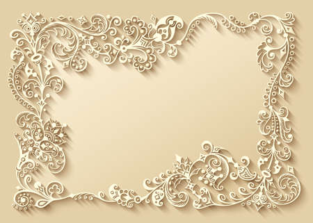 Abstract vector ornamental nature vintage frame. Vettoriali