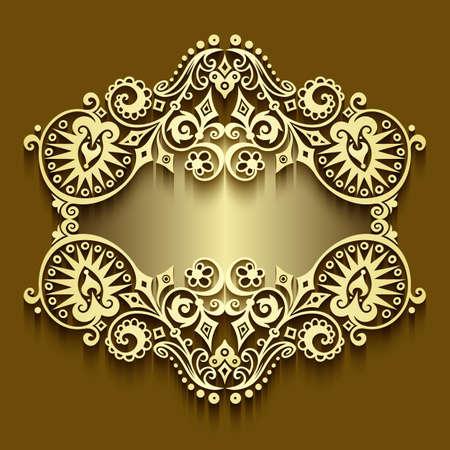 Vector abstract ornamental nature vintage frame. Ilustración de vector