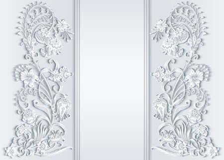 Floral hand drawn vector vintage border