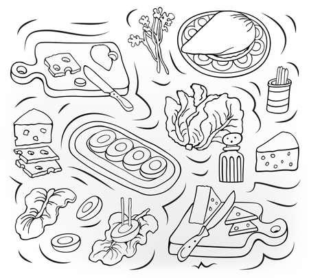Home Cooking vector sketchy illustration. Vecteurs