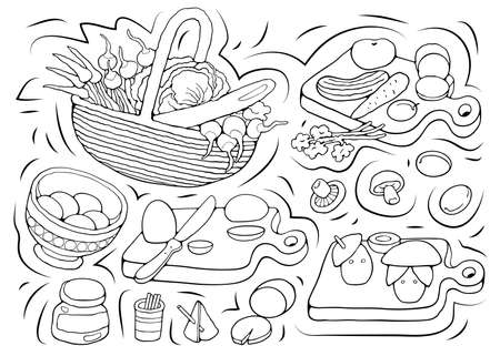 Home Cooking vector sketchy illustration