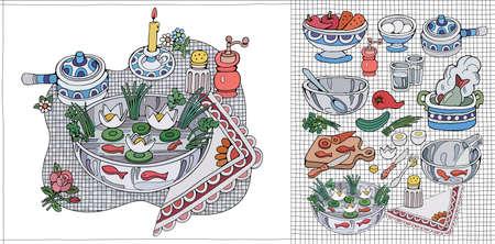 Home Cooking Still life vector illustration.