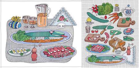Home Cooking Still life vector illustration