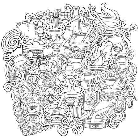 Food hand drawn vector doodles illustration
