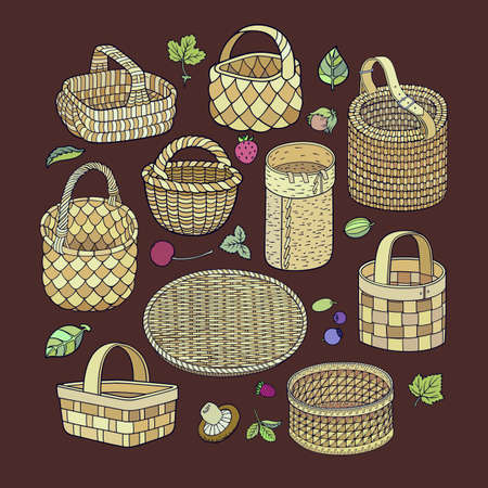 Set of hand drawn abstract baskets.