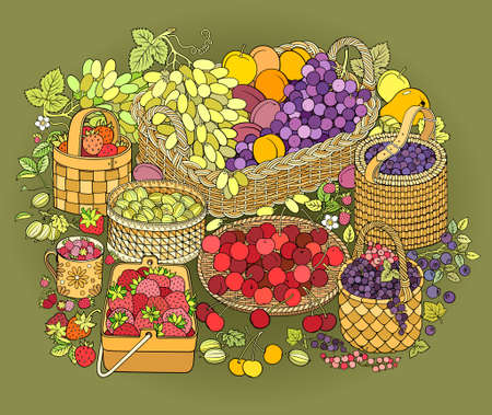 A lot of fruits and berries in baskets