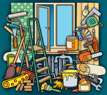 Cartoon doodle hand drawn home repair illustration Vektorgrafik