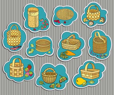Funny berries, fruits, vegetables in baskets Illusztráció
