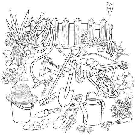 Gardening hand drawn vector doodles illustration