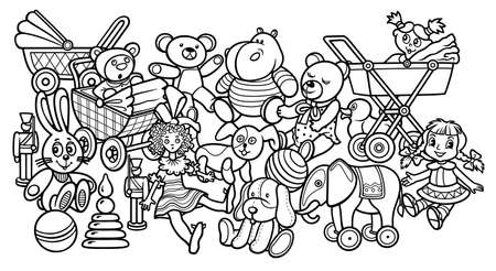 Cartoon doodles hand drawn kids toys illustration.
