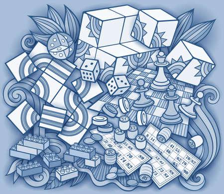 Cartoon cute doodles kids toys illustration. Vector Illustration