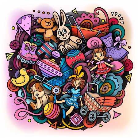 Cartoon doodles hand drawn kids toys illustration