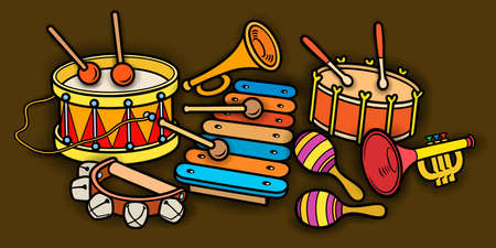 Cartoon cute doodles kids toys illustration