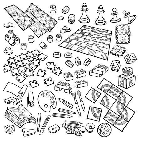 Cartoon doodles hand drawn kids toys objects set.