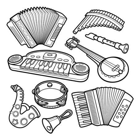 Cartoon hand drawn musical kids toys objects set