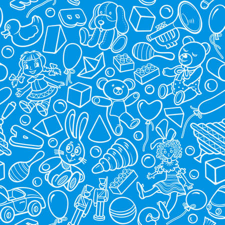 Cartoon cute doodles kids toys seamless pattern.
