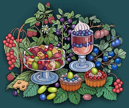 Sweets, berries, cherries hand drawn illustration