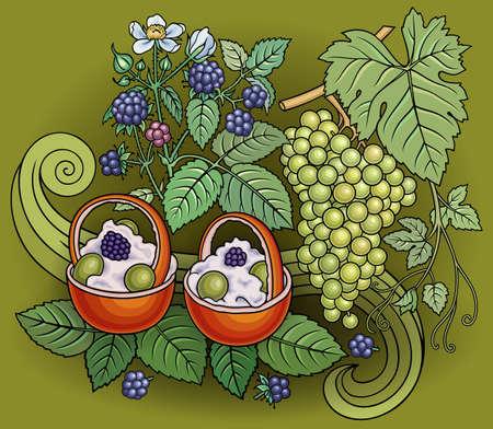 Grapes, blackberries, sweets doodles illustration  イラスト・ベクター素材