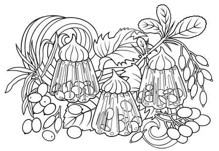 Sweets, berries, fruits hand drawn illustration