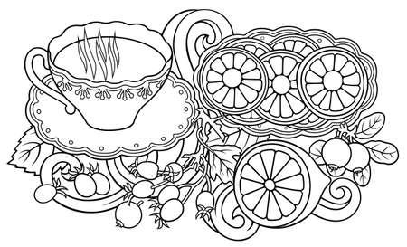 Tea, berries, fruits hand drawn illustration
