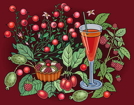 Juice, berries, sweets hand drawn illustration