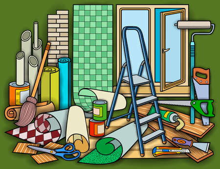 Cartoon doodles home repair illustration
