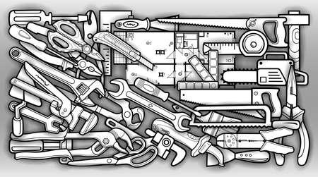 Cartoon doodles repair tools illustration