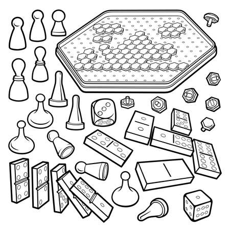 Cartoon doodles board games objects set