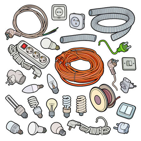 Cartoon doodles electrical instruments objects set